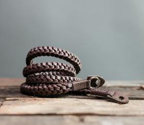Braided V2 Natural 105cm | Leder Kameragurt Brown