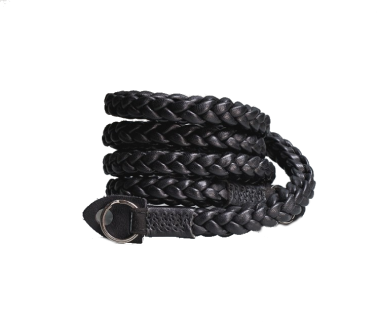 Braided V2 105cm | Leder Kameragurt Black