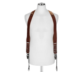 Sideburns Büffel Leder S/M | Doppel Harness Brown